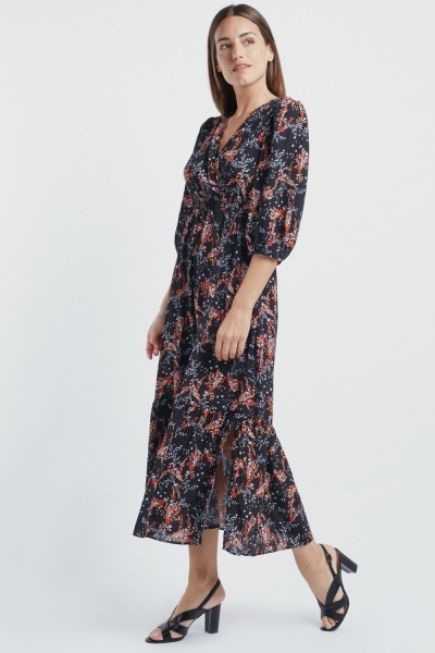 Floral Wrap Slit Side Maxi Dress