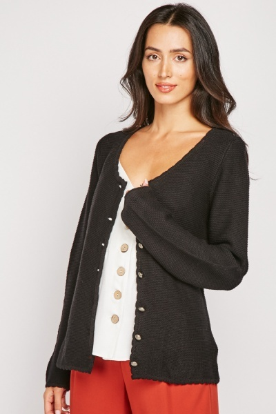 Scallop Trim Knit Cardigan