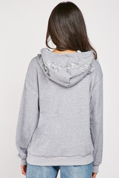 Flower Embroidered Hoodie