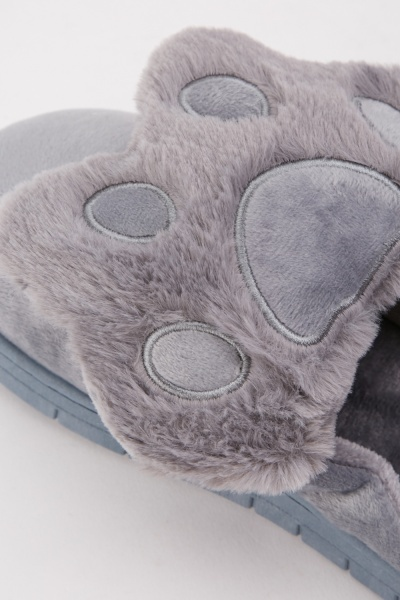 Paw Pattern Fluffy Slippers