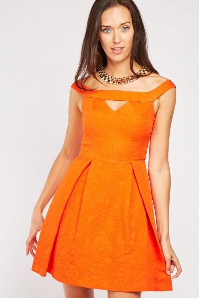 Box Pleated Cut Out Skater Dress