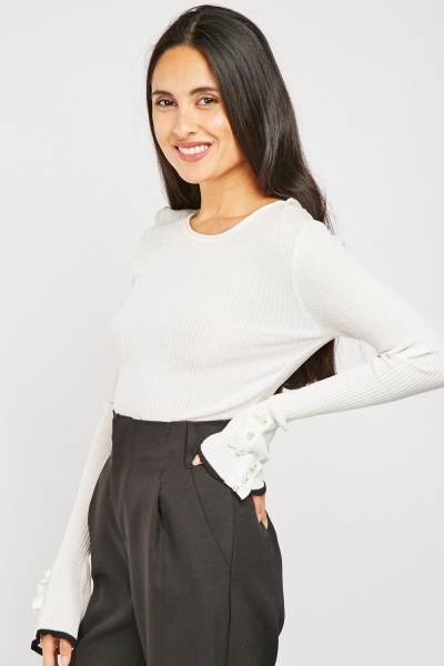 Faux Pearl Detailed Sleeve  Knit Top