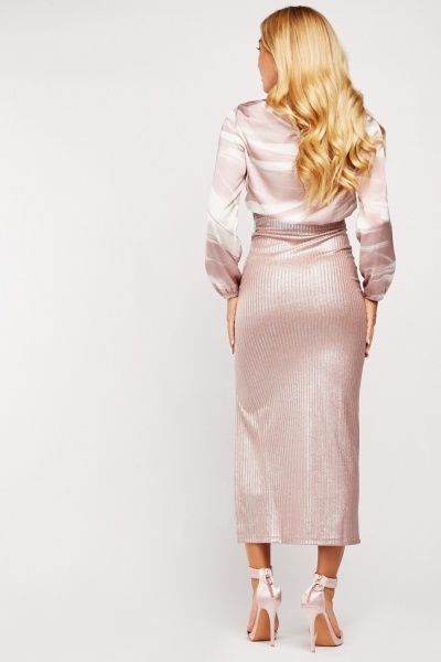Metallic Slit Front Midi Skirt