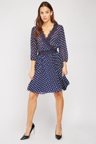 Studded Polka Dot Wrap Dress