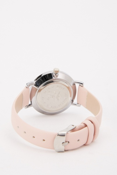 Pink Faux Leather Watch