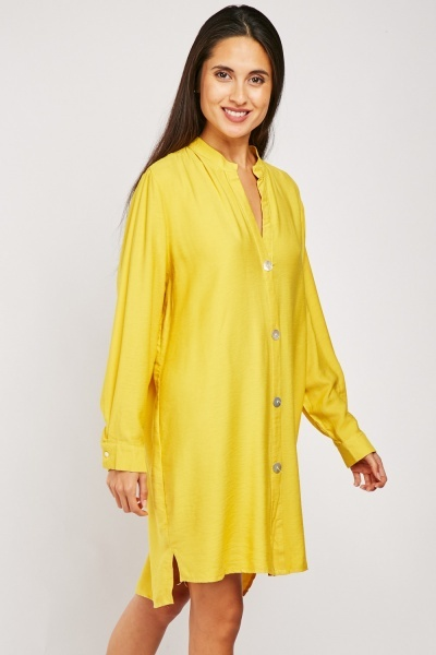 Plain Long Sleeve Shirt Dress