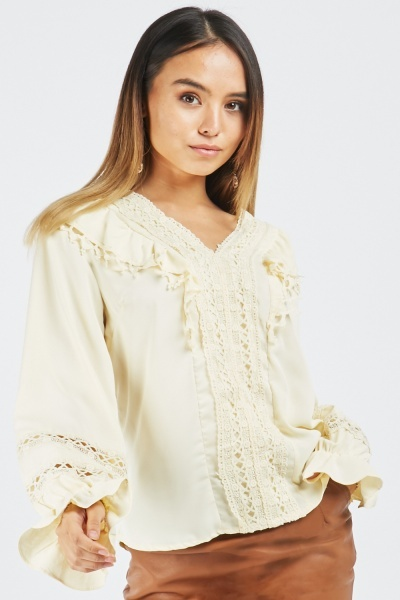 Crochet Panel Frill Blouse
