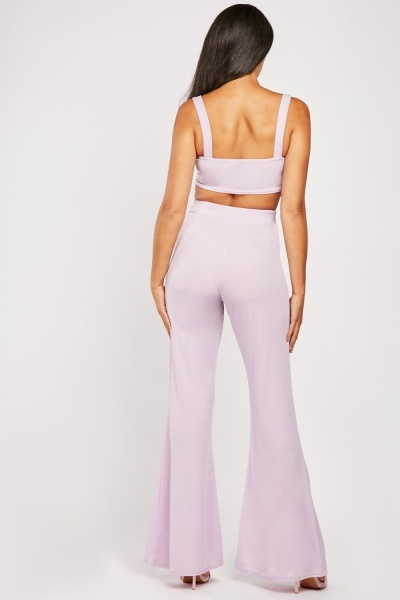 Crop Top And Flared Trousers Set