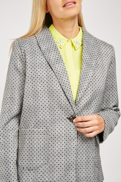 Polka Dot Plaid Blazer