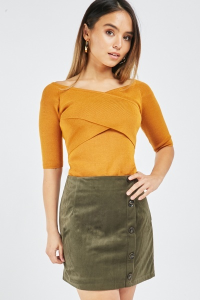 Cord Button Front Mini Skirt