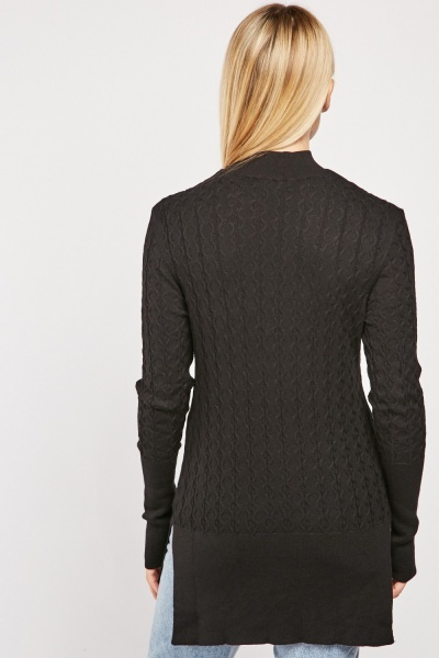 Funnel Neck Cable Knit Jumper