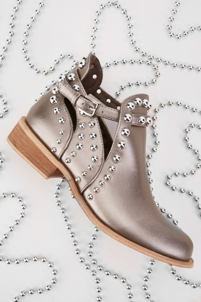 Metallic Studded Ankle Boots