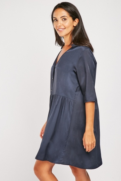 Mini Silky Button Front Dress