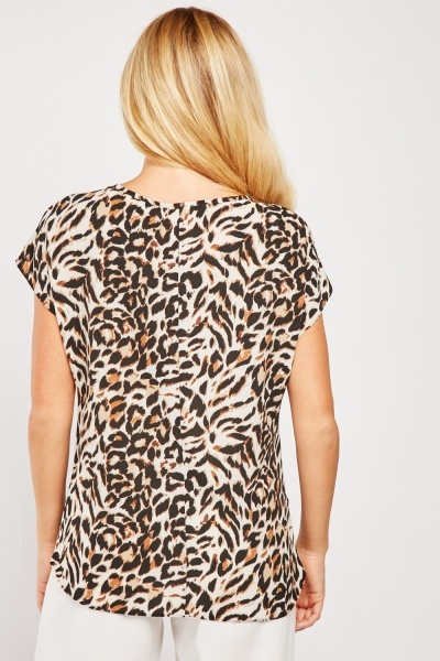 Chain Trim Leopard Print Top