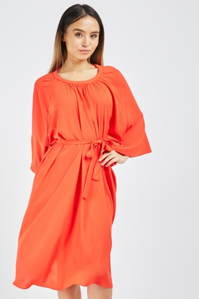 Gathered Tie Up Swing Dress