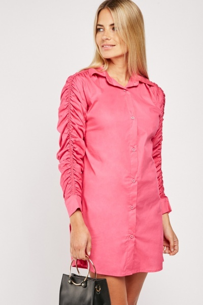 Gathered Sleeve Shirt Dress
