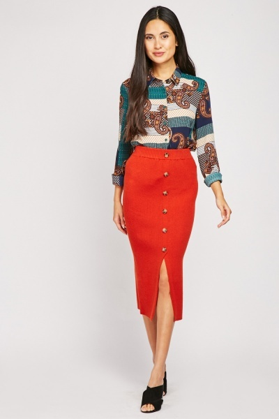 Knitted Button Detailed Midi Skirt