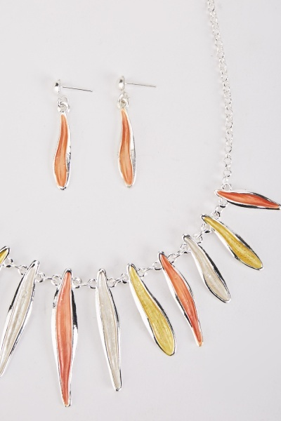 Multi-Coloured Necklace And Drop Earrings Set