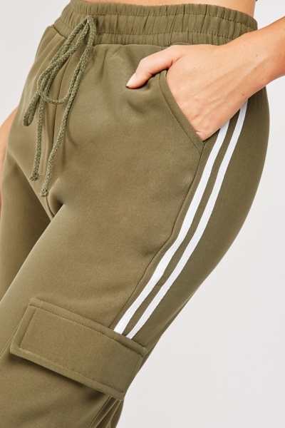 Flap Pocket Side Striped Jogging Bottoms