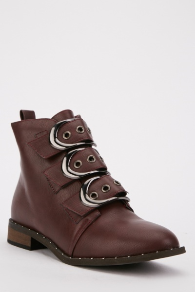 Triple Buckle Strap Boots