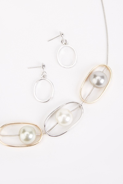 Faux Pearl Insert Necklace And Drop Earrings Set