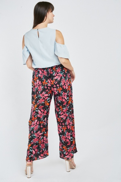 Floral Wide Leg Trousers