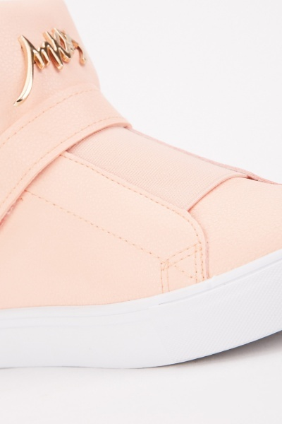 High Top Faux Leather Trainers