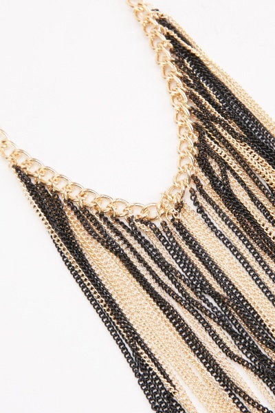 Layered Tassel Chain Necklace