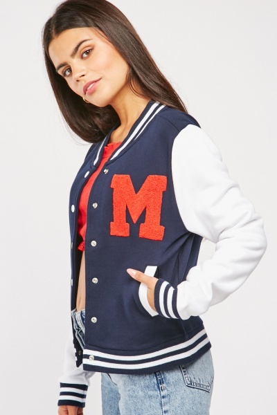 Lettering Patch Detail Varsity Jacket