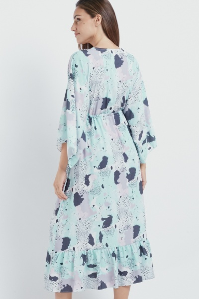 Mixed Printed Flared Midi Dress