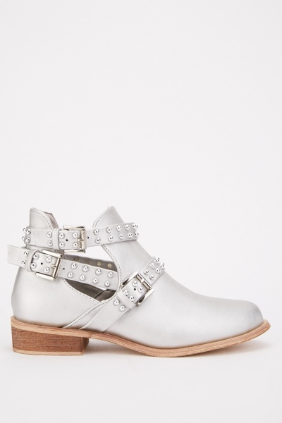 Cut Out Buckled Ankle Boots