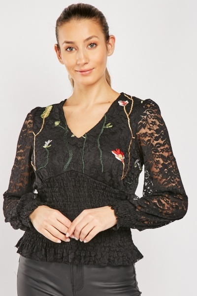Embroidered Lace Shirred Blouse