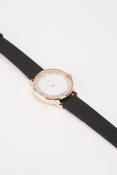 Faux Leather Textured Watch