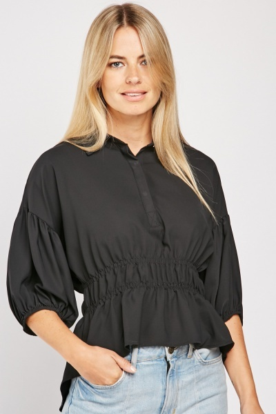 Gathered Waist Collared Blouse