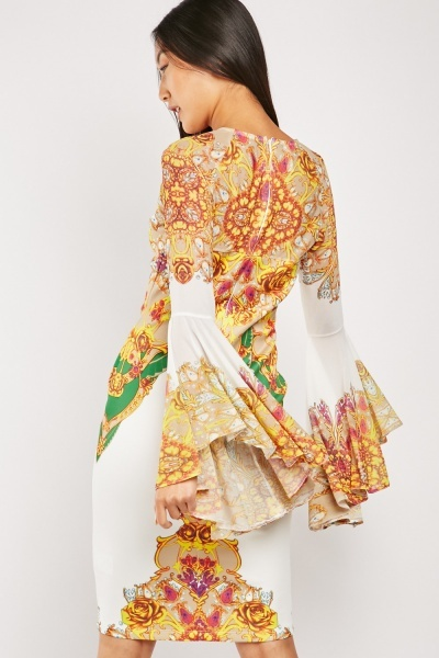 Ornate Print Dress With Flounce Sleeve