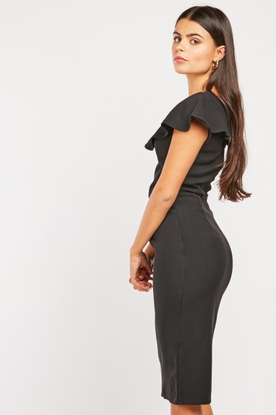 Criss-Cross Ruffle Neck Midi Dress