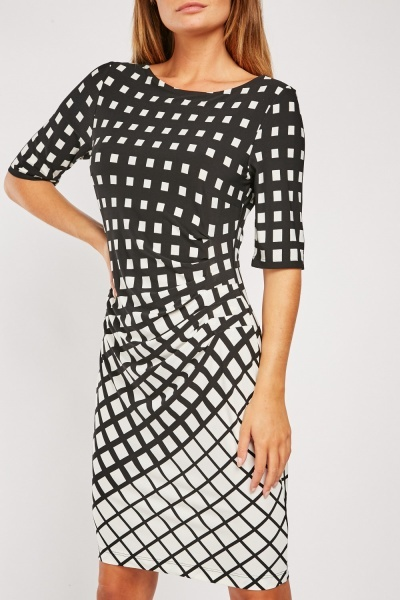 Illusion Print Midi Dress