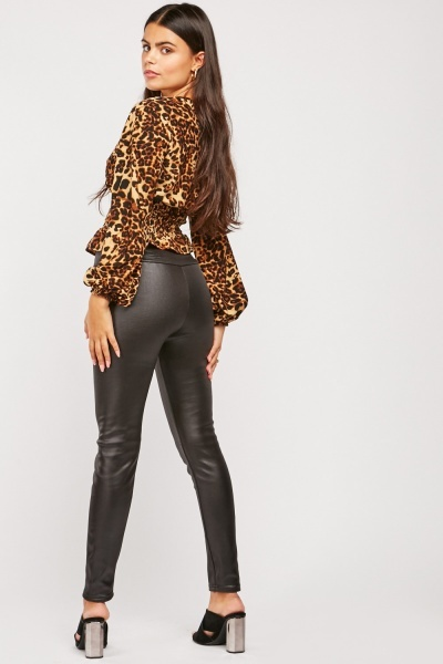 Mid Rise Faux Leather Leggings