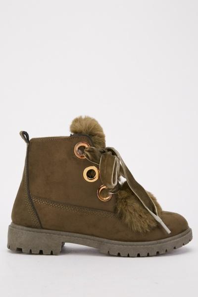 Faux Fur Trim Lace Up Boots