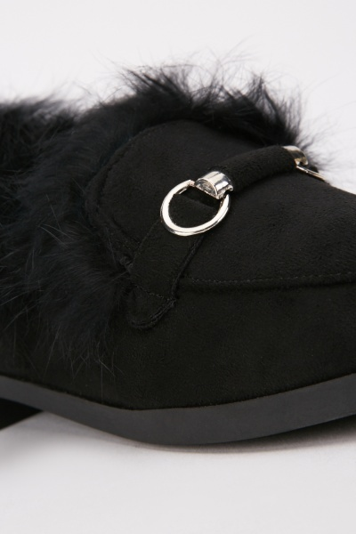 Low Heel Fur Trim Loafers