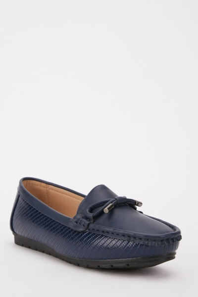 Textured Bow Front Loafers