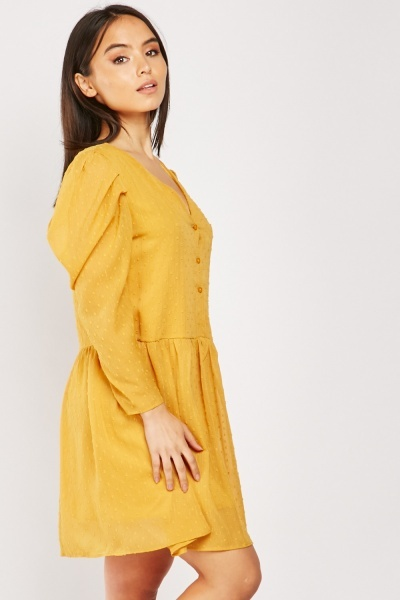 Gathered Sleeve Bobble Textured Dress