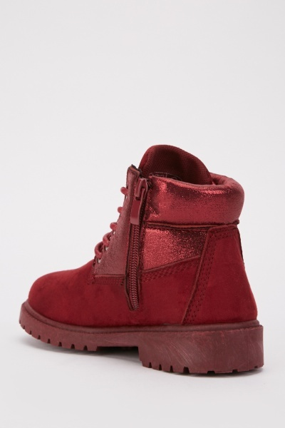 Kids Metallic Trim Suedette Boots