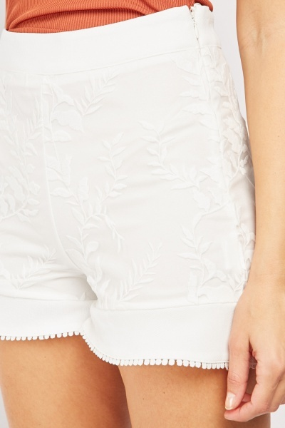 Embroidered Mesh Overlay Fitted Shorts