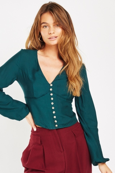 Decorative Button Front V-Neck Blouse