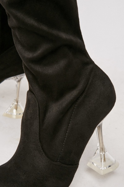 Black High Knee Spool Heel Boots
