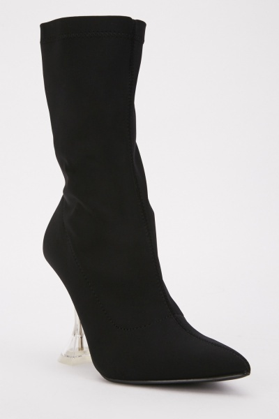 Black Transparent Heeled Boots