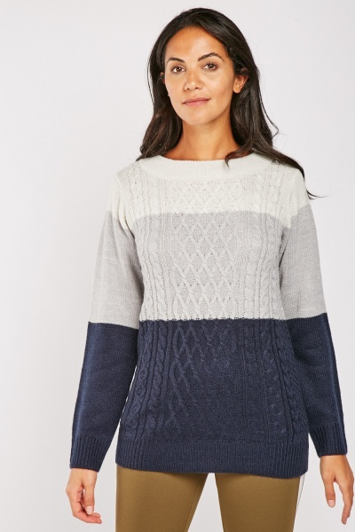 Cable Knit Colour Block Jumper