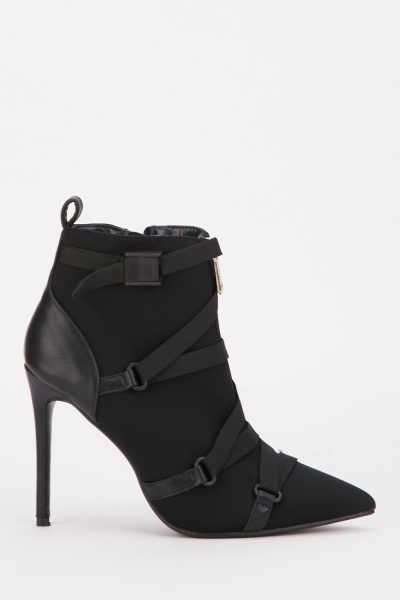 Faux Leather Contrast Heeled Boots