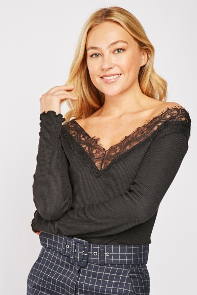 Lace Insert Ribbed Top